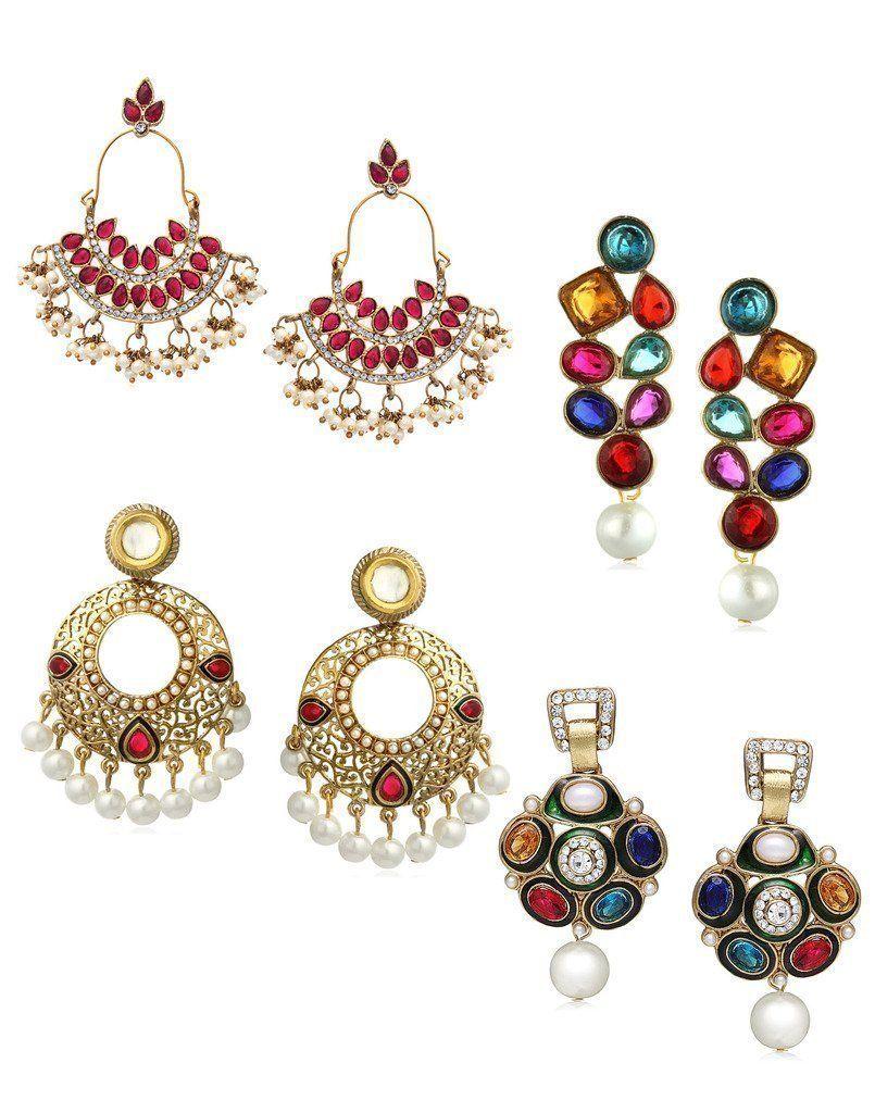 Zaveri pearls set of combo ethnic earring zaveri pearls