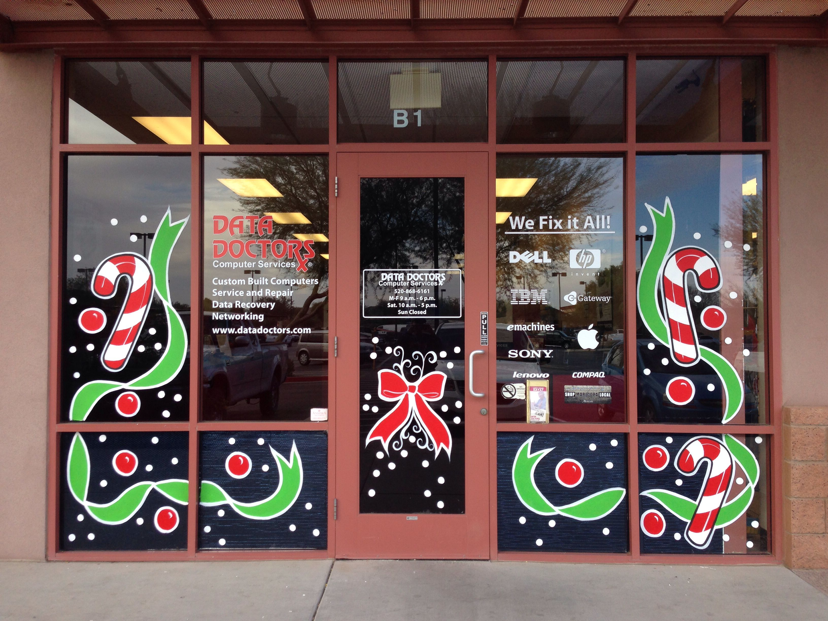 Painted Christmas windows Phoenix az | Window painting ...