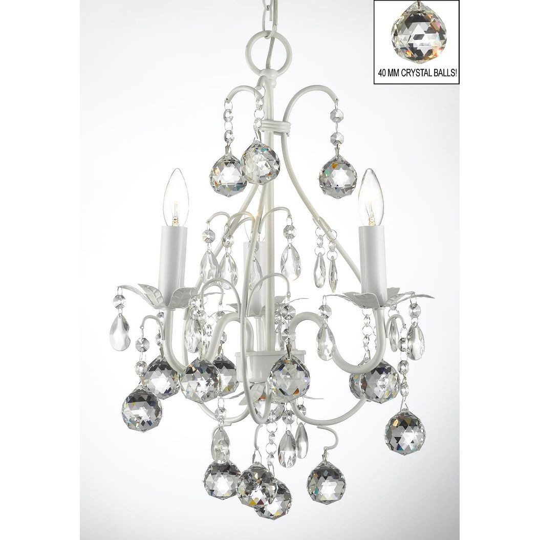 Wrought Iron And Crystal White Chandelier Pendant With 40mm