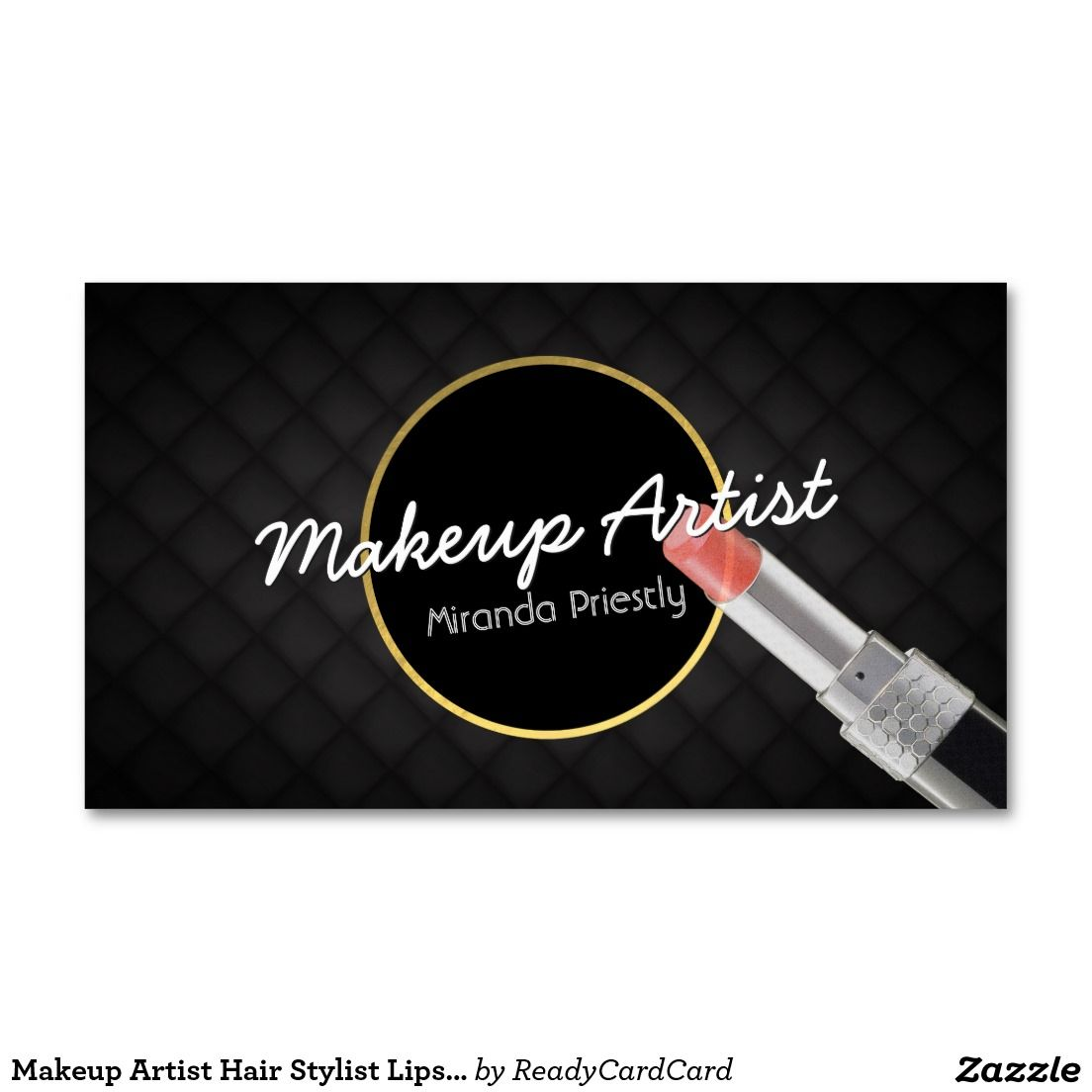 Makeup Artist Hair Stylist Lipstick Black Leather Business Card