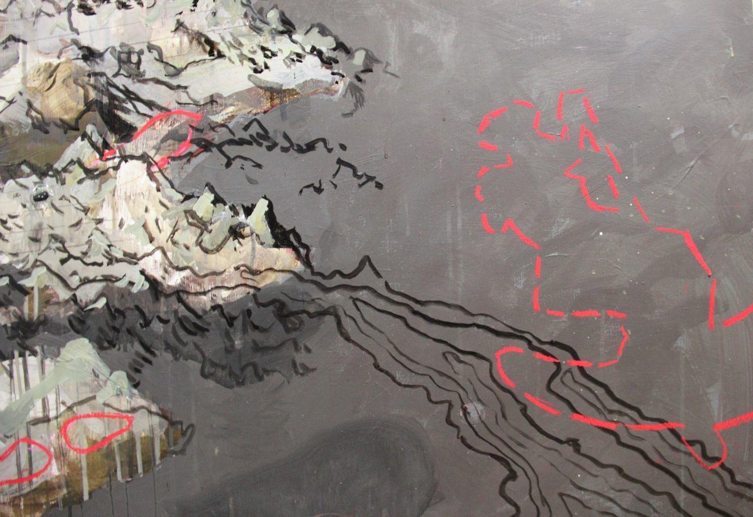 Benoît Ricard, PINÈDE de la série Chasse-galerie (détail), 2014, médium mixte sur bois, 152,4 x 248,9 (photo Benoît Ricard). L'exposition GIGANTOMACHIES LAURENTIENNES est présentée au MACL du 1er février au 22 mars 2015.