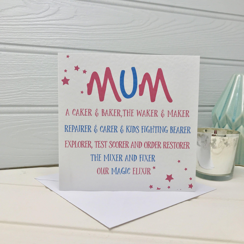 My Mum Poem Personalised Mum Card Shmuncki Etsy Birthday Cards For Mum Birthday Cards For Girlfriend Birthday Cards