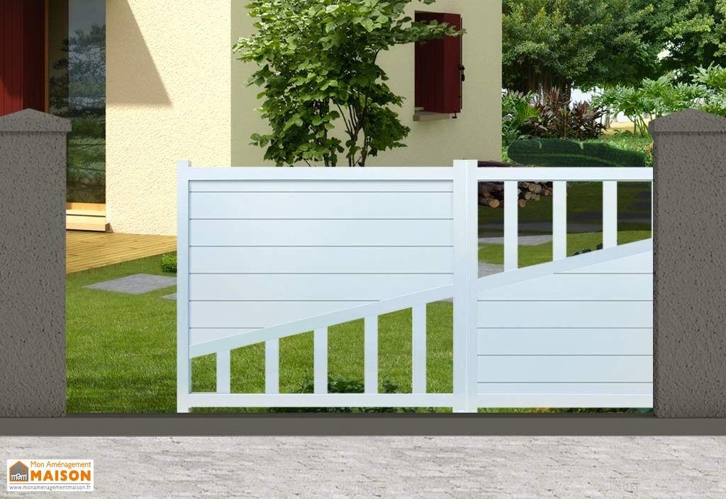 portail blanc en aluminium avec ouverture automatique coulissante - motorisation portail battant ouverture exterieure