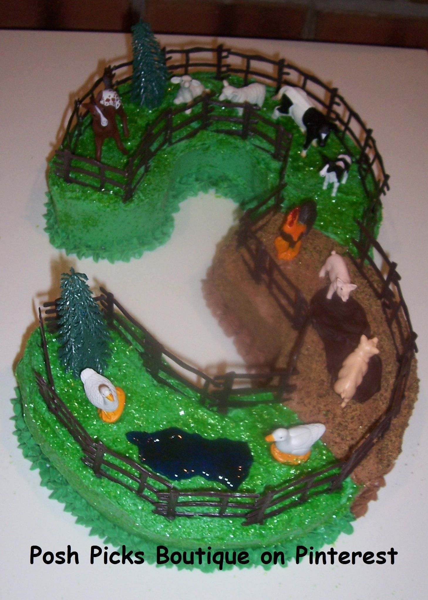 Farm Yard Animal Number 3 Birthday Cake More