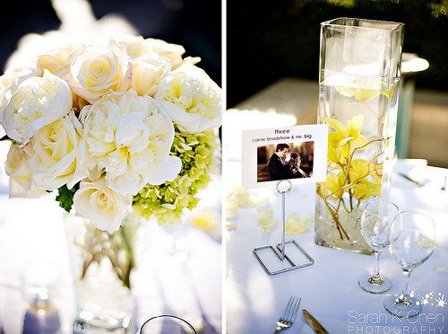 Photo via centerpieces reception and table settings white yellow roses centerpieces orchids peonies mokara junglespirit Image collections