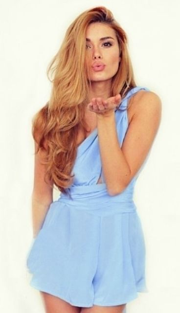 dce51c2c8a4 Sisters The Label pure silk mini Multiway Playsuit in Vienna Sky - Baby  pastel cornflour blue