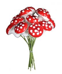 12 Large Spun Cotton Mushrooms from Germany ~ 18mm Red