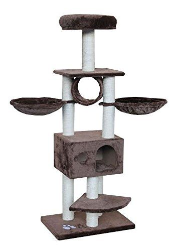 stylish cat tree condo with two hammocks bed and tunnel mocha    unbelievable stylish cat tree condo with two hammocks bed and tunnel mocha      rh   pinterest