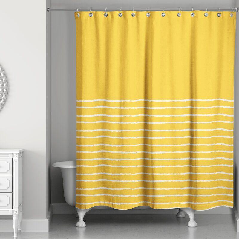 Stenya Sketch Stripes Single Shower Curtain In 2020 Yellow Shower Curtains Shower Curtain Curtains