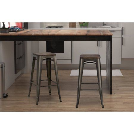Dorel Home Products Fusion 30 Inch Metal Backless Bar Stool With
