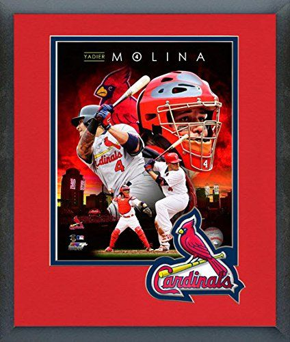 Yadier Molina Framed With Team Color Double Matting Ready To Hang Awesome Beautiful Must For A Championship Team Fa Cardinals Team Colors St Louis Cardinals