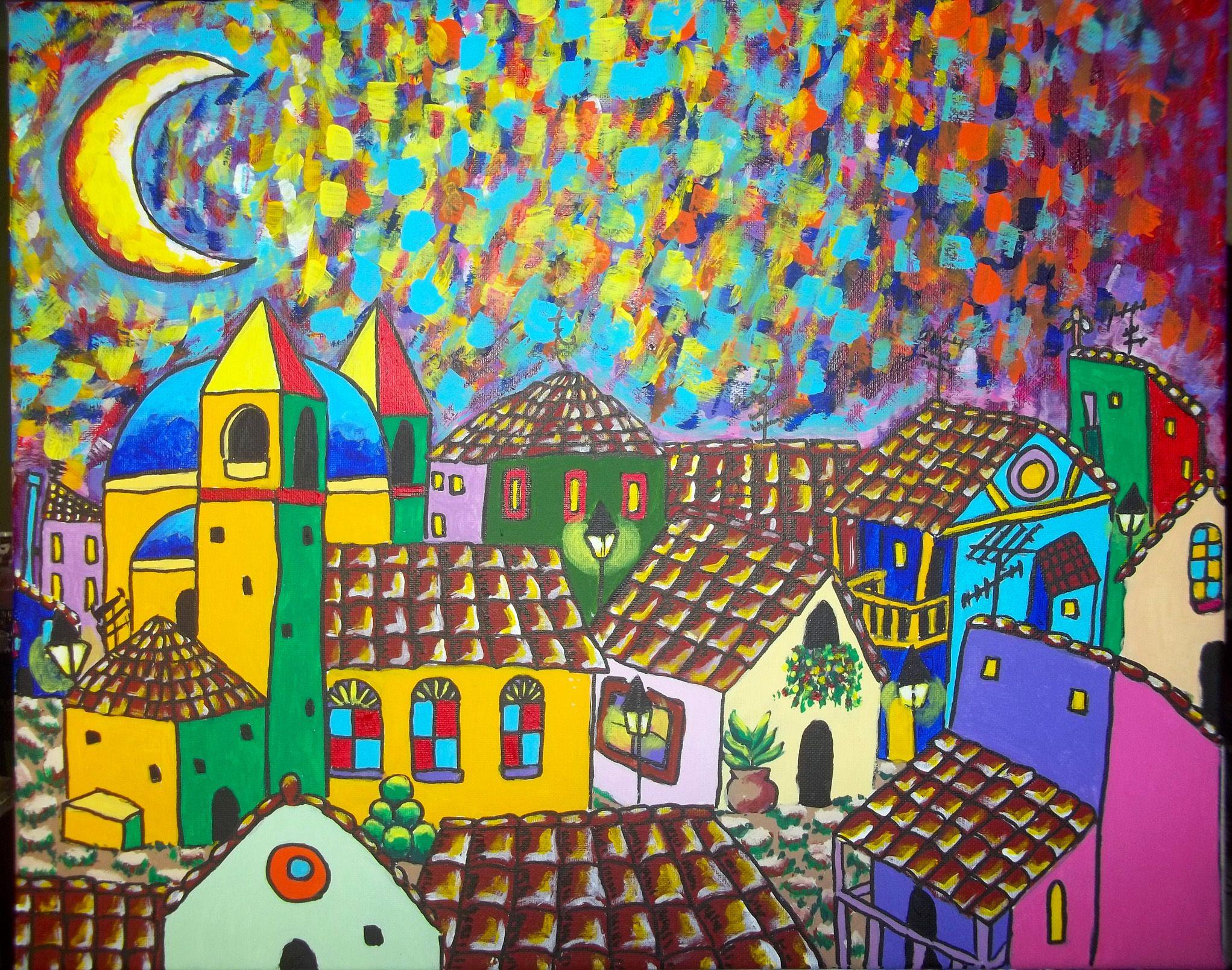 Título: Hermosa noche desde mi Bálcón Técnica: Acrílico sobre lienzo Medidas: 44 cms Alto x 55 cms largo
