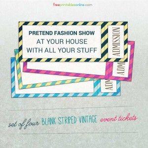 striped vintage blank event ticket template birthday pinterest