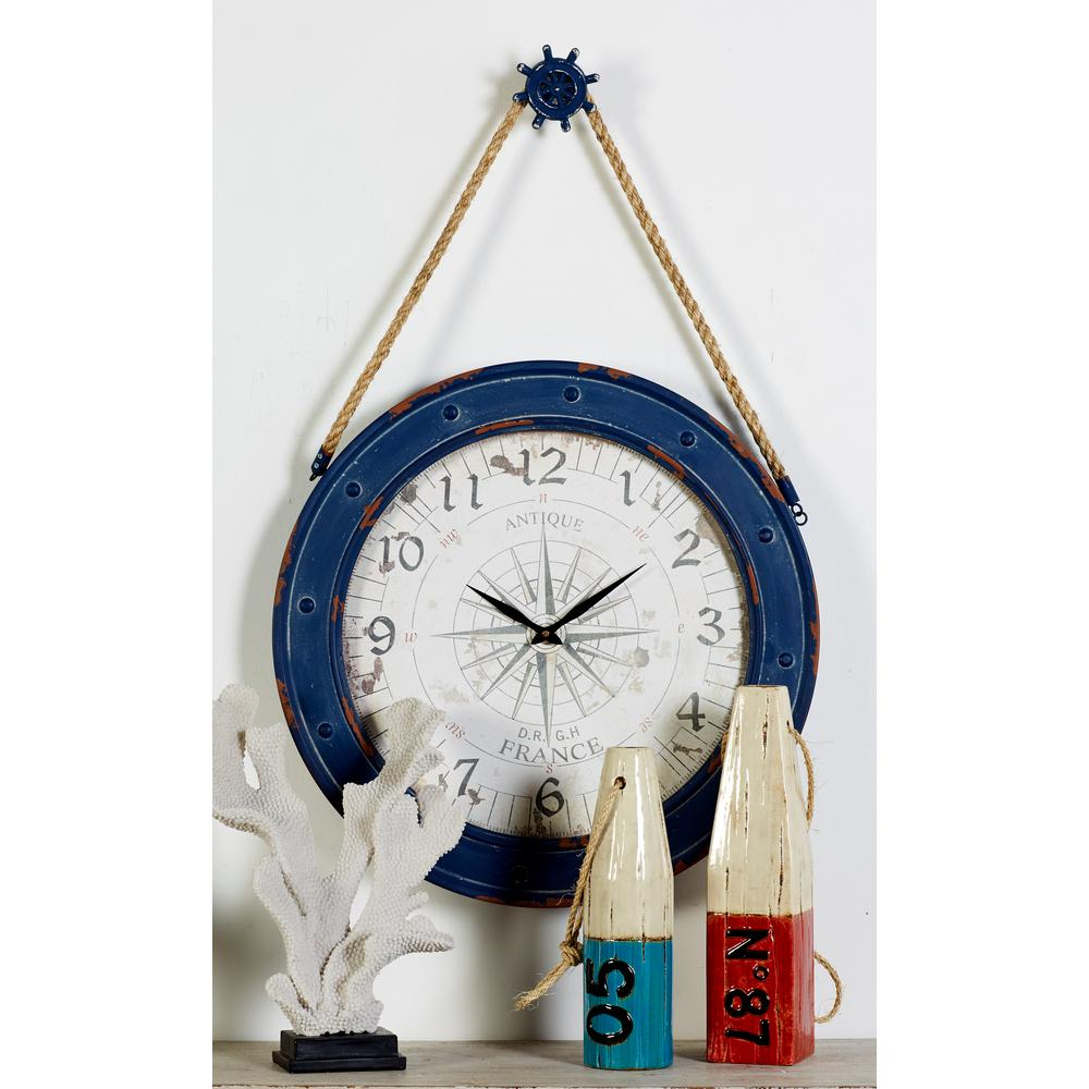 Litton Lane Blue Compass Wall Clock With Rope And Pulley Design Hanger 55579 The Home Depot Wall Clock Clock Blue Compass