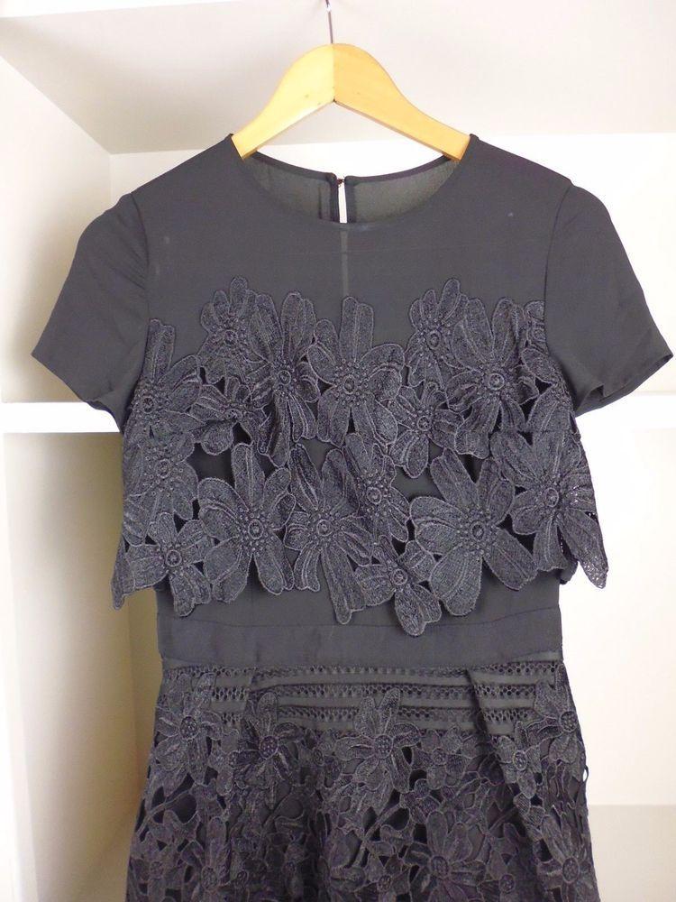 Ted Baker Jenelle Black Layered Lace Midi Dress Size 1