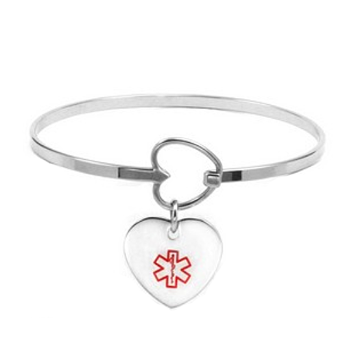 791a4515156af Fancy Heart Charm Stainless Medical ID Bangle Bracelet | Teen's ...