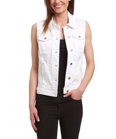 3e8de1f3b84d Look what I found on  zulily! Bright White Classic Denim Vest  zulilyfinds
