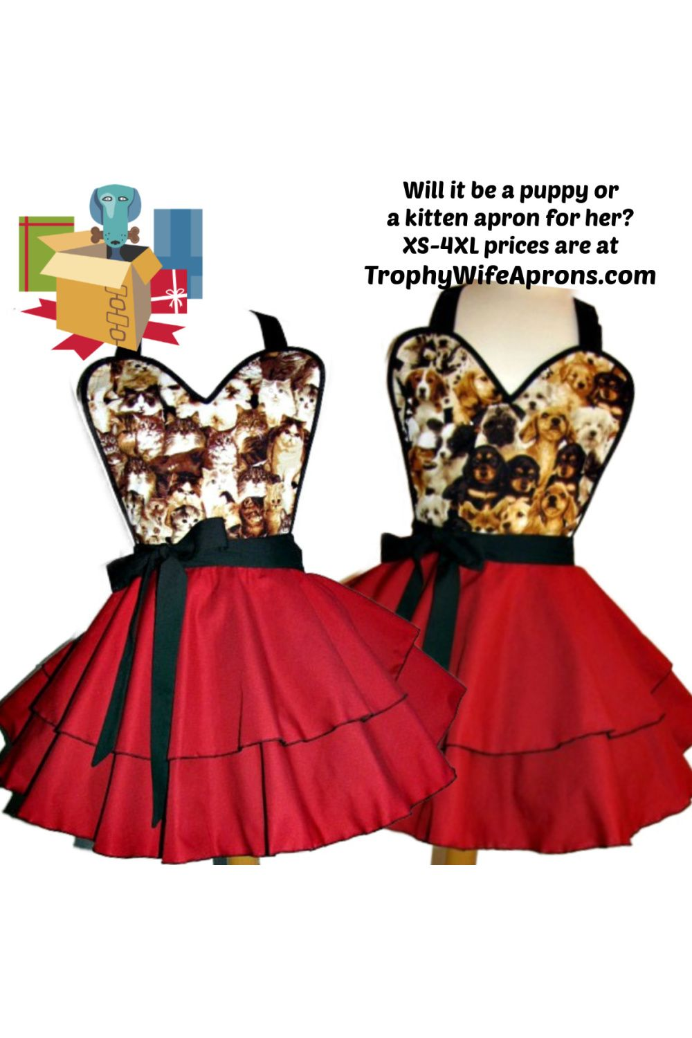Puppy Apron Kitten Apron Flirty Aprons Cute Aprons Handmade Aprons
