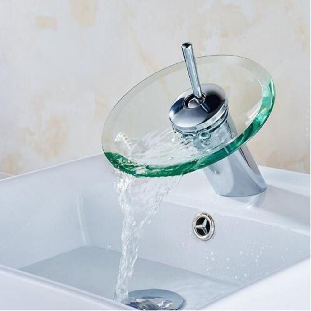 Glass Waterfall Bathroom Kitchen Sink Round Waterfall Faucet Brass ...