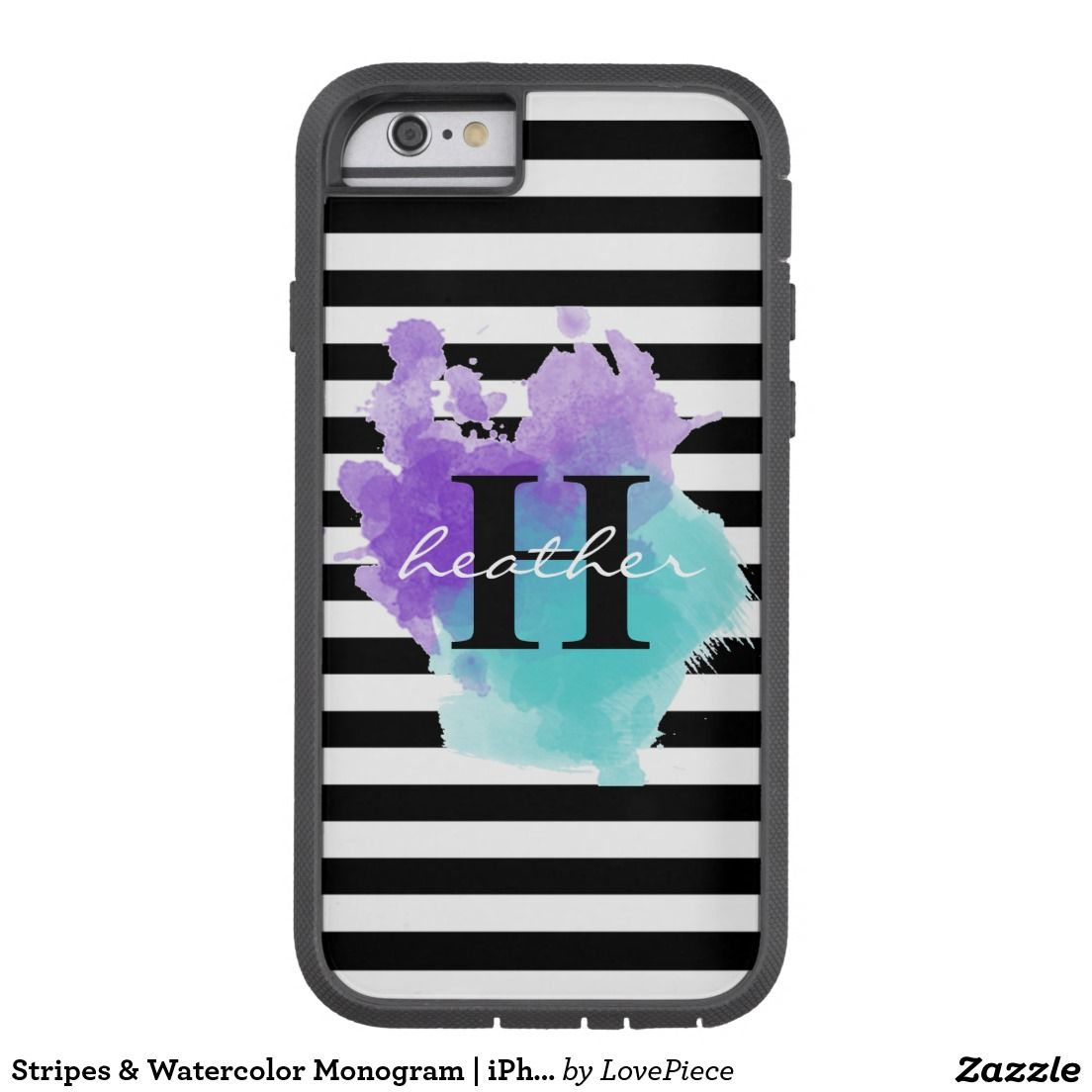 Stripes & Watercolor Monogram | iPhone Tough Case