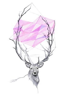 Deer Heart Love Illustration Animals Stag Antlers Pink Geometric