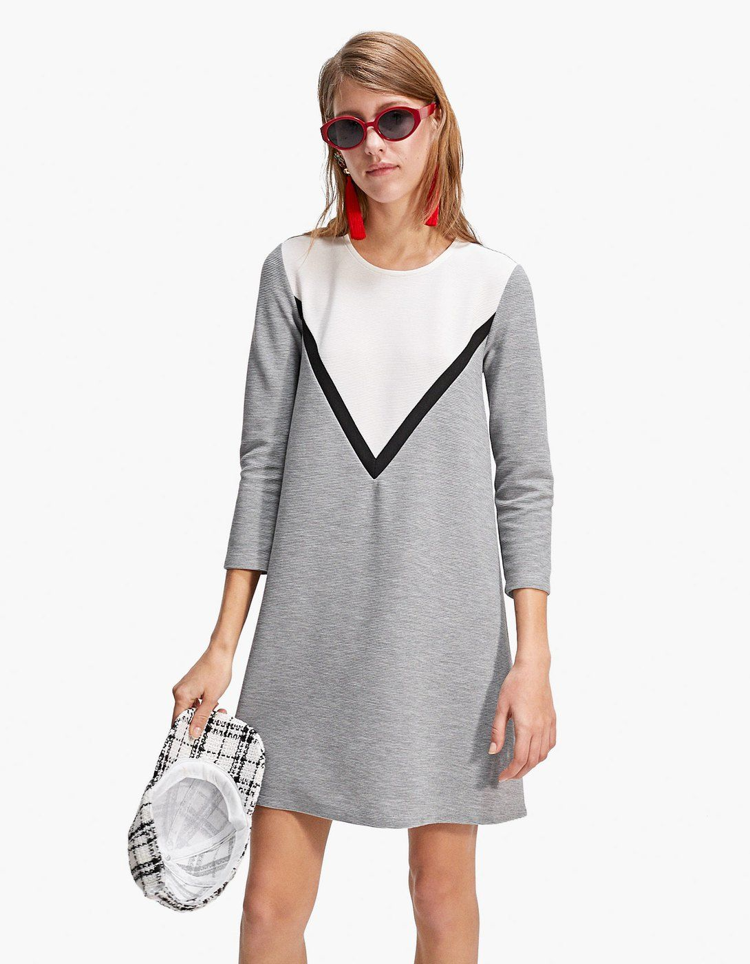 colour block dress with 3/4 length sleeves - dresses and