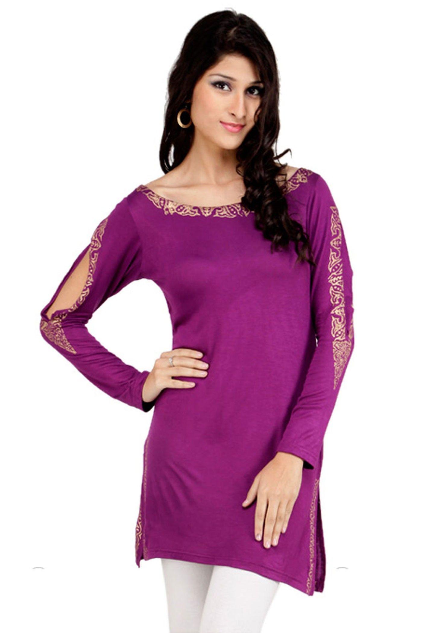 10e85a54143 Stylish Looking Purple Color #Designer #PrintedKurti Classic Feminine  Style, Short Kurtis, Printed