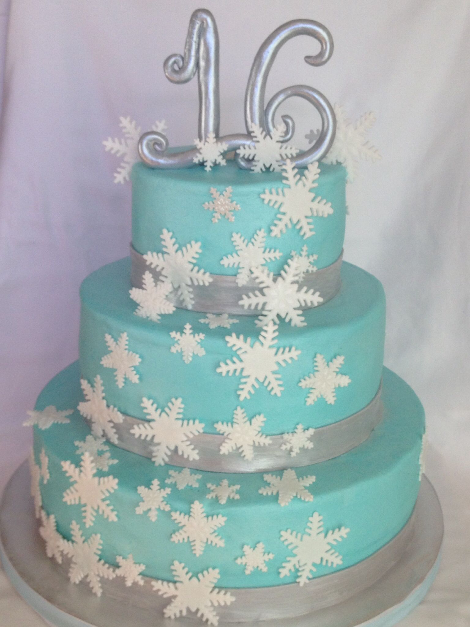 Stupendous Winter Snowflake Themed Cake For 16Th Birthday With Images Birthday Cards Printable Opercafe Filternl
