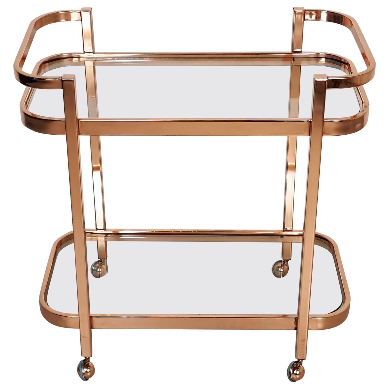 stunning bar cart by milo baughman in rose gold copper 1970s - Rose Gold Bar Cart