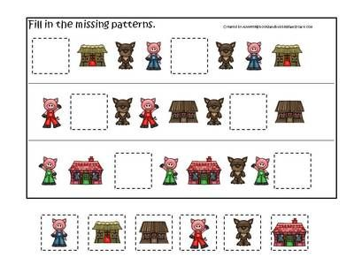 Three Little Pigs Preschool Activities 3 Part Match Sorting Missing Pattern Answer The Qu From Teachatdaycare On Teachersnotebook Com Three little pigs worksheets