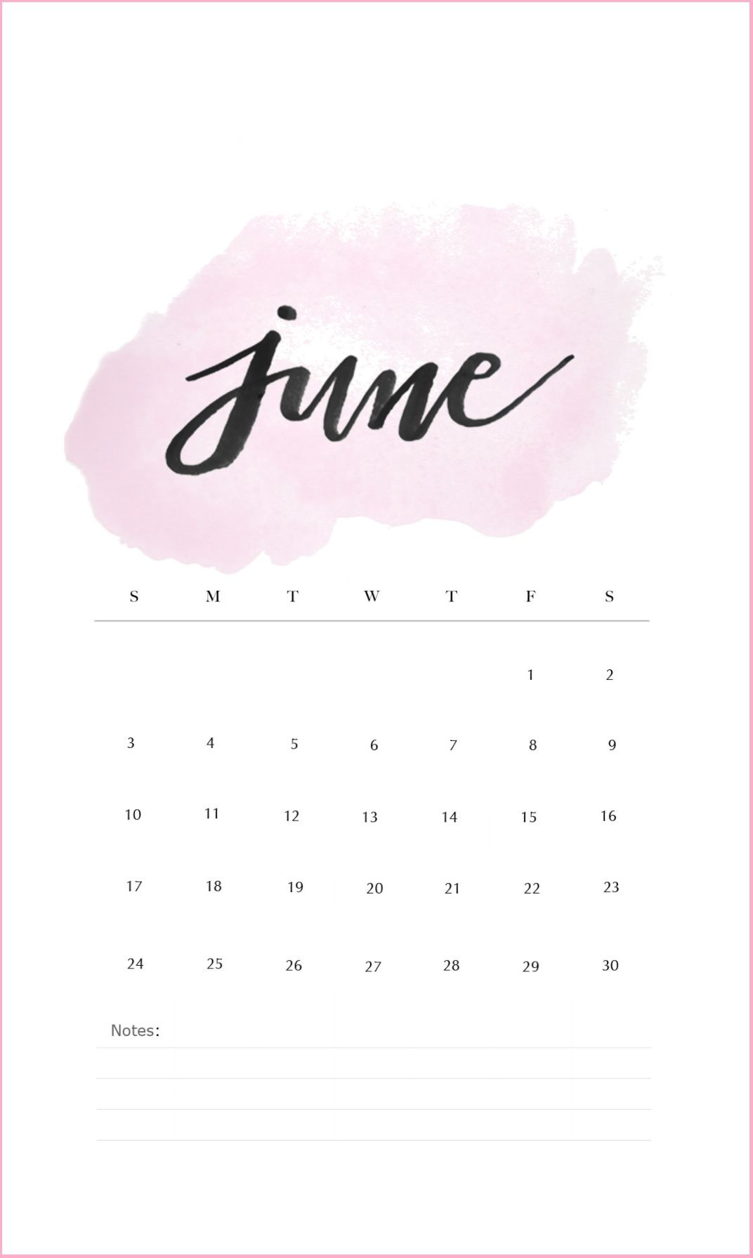 June 2018 Iphone Calendar Wallpaper Calendar Wallpaper June