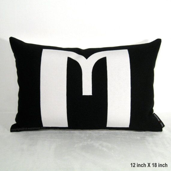 Initial Pillow Cover Custom Monogram Art Deco Font By Mazizmuse Mesmerizing Initial Pillow Covers