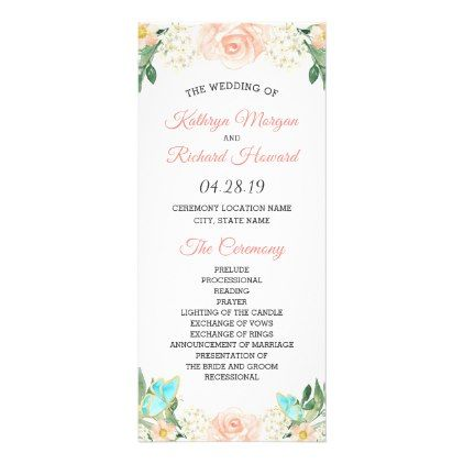 Spring Blush Peach Blossom Floral Wedding Program floral style