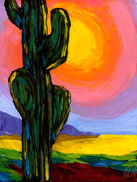 Photo of LONELY SAGUARO FIVE Original Desert Cactus Landscape Expression Oil Painting. 12×16. Painter Artist Ken Pugh Kenneth John