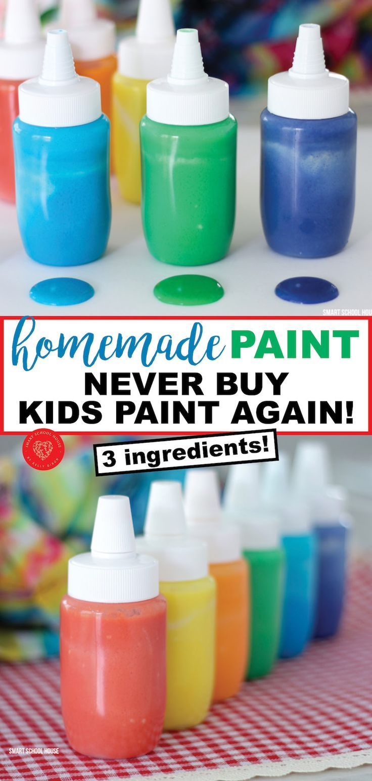 Buying paint for kids or a classroom can be pricey! Never buy paint again with this 3 ingredient homemade paint recipe! This is a money saving DIY for parents and teachers on a budget (or for those of us who love being crafty!). #kidscrafts #kidsart #diypaint #homemadepaint