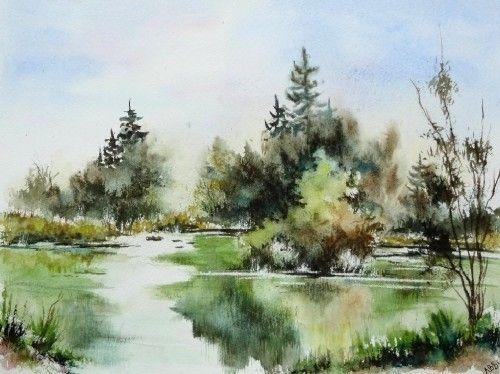 aquarelle paysage abby campagne arbres reflets eau lac tang printemps aquarelles pinterest. Black Bedroom Furniture Sets. Home Design Ideas
