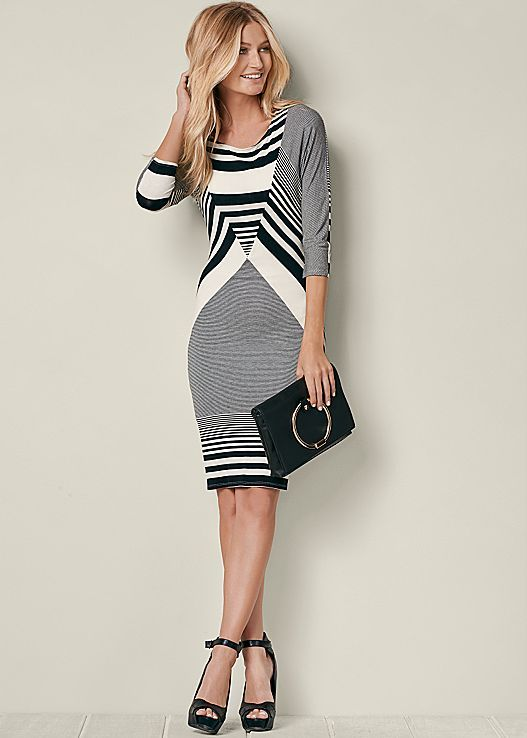 STRIPE DETAIL DRESS, PEEP TOE ANKLE STRAP HEEL, CIRCLE DETAIL CROSSBODY