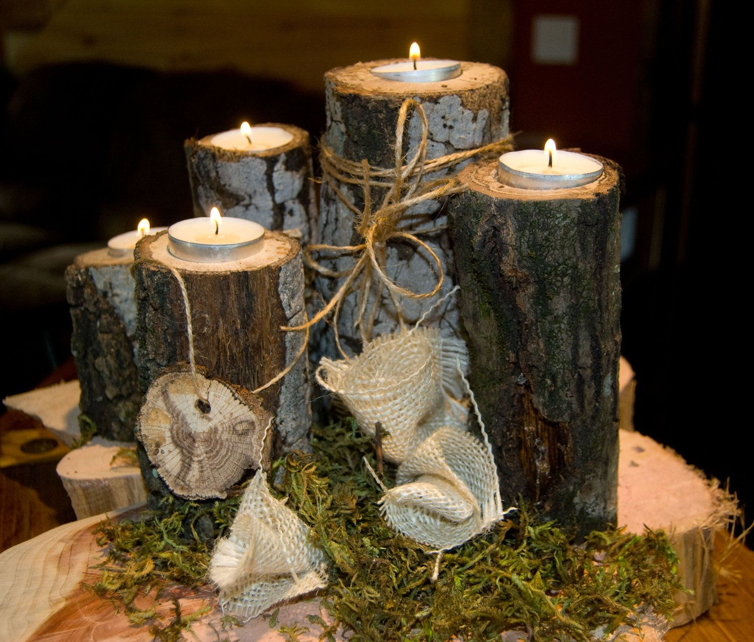 Rustic wedding centerpiece cheap wedding centerpiece for Northwoods decor