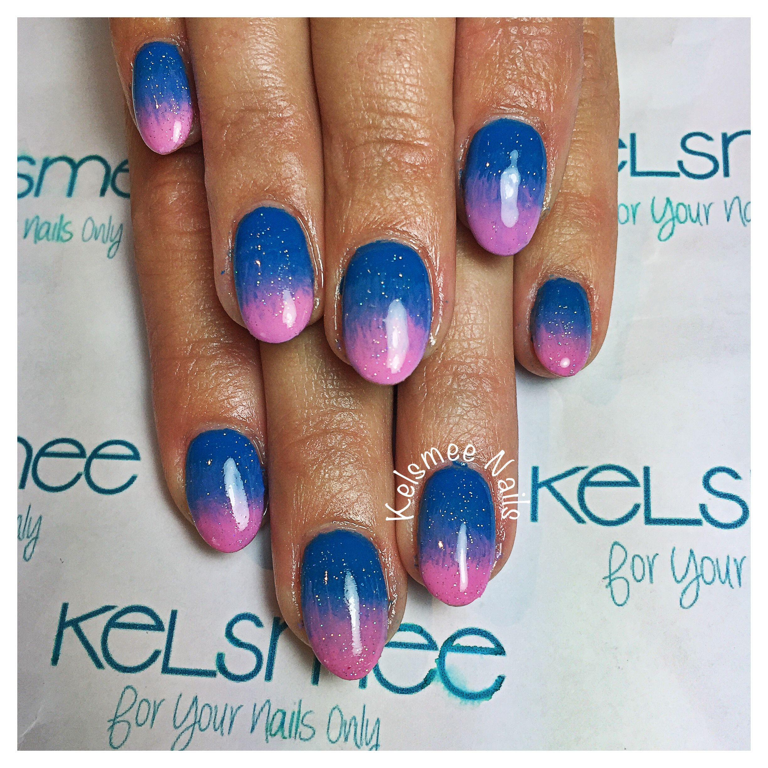 Blue and pink ombre nails | nail art | Pinterest