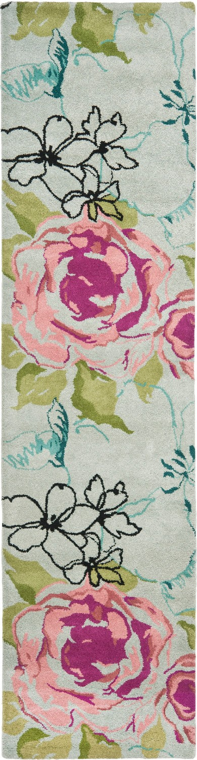 Safavieh Wyndham Wyd378B Blue / Multi floral area rug has pink and magenta roses with blue and teal accents. Modern and gorgeous this rug look like a piece of art.