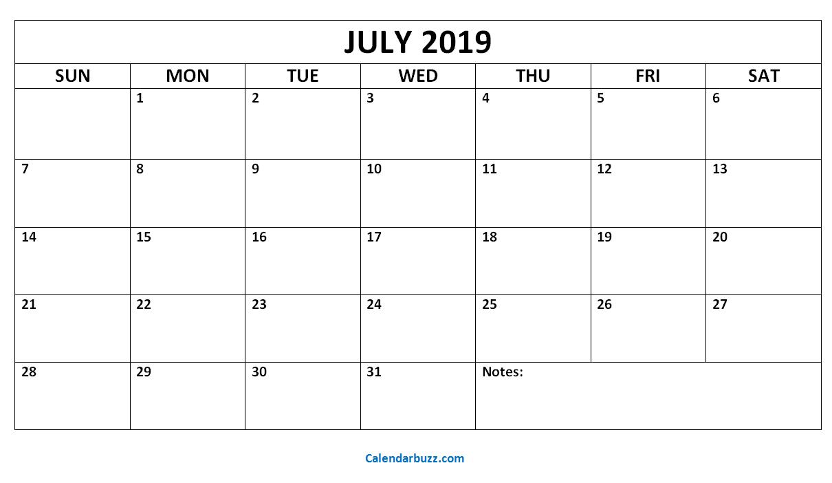 July 2019 Calendar Month Cablo Commongroundsapex Co