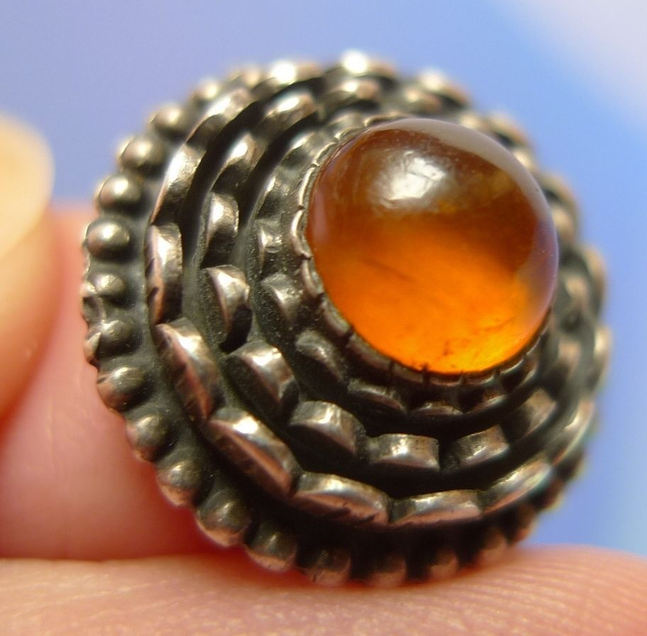 m11 Vintage USSR Riga Jewelry Natural Baltic Amber gem SIlver 875 RING 6g Size 7