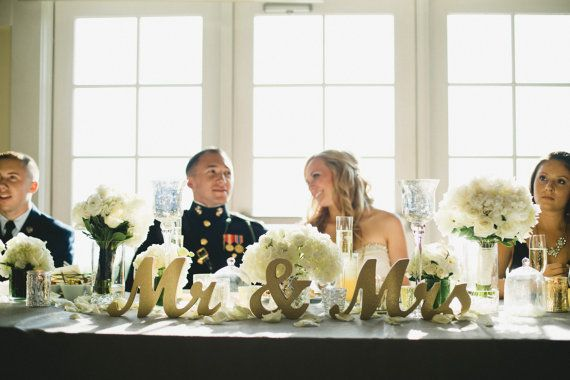 Gold Glitter Mr And Mrs Sign Wedding Sweetheart Table