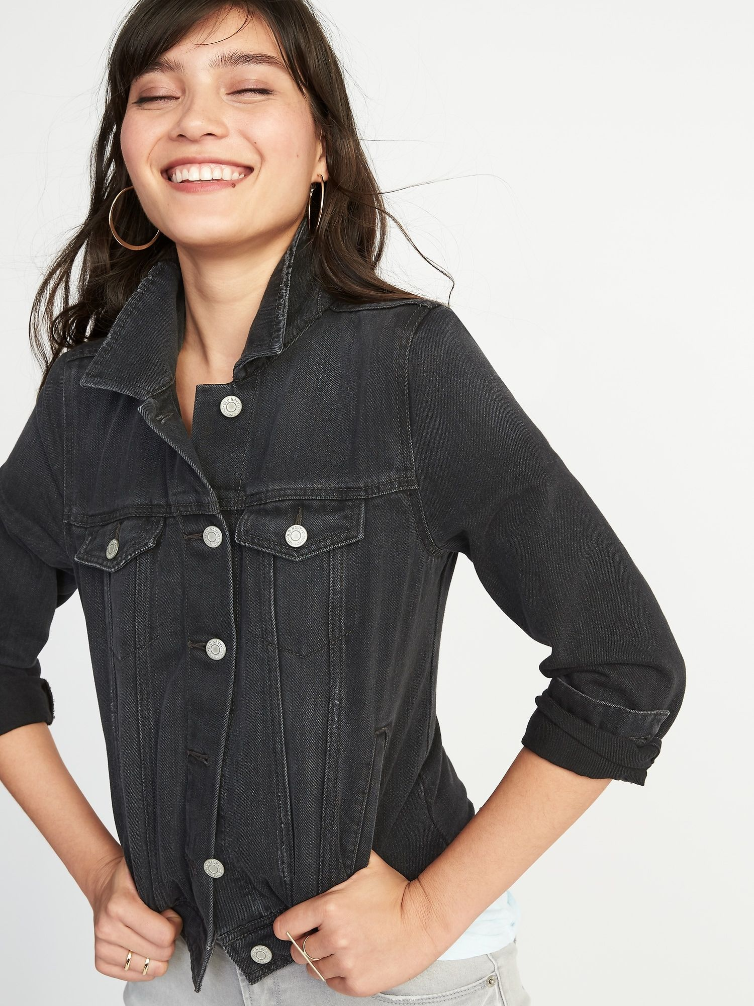 Distressed Black Denim Jacket For Women Old Navy Black Denim Jacket Fashion Jackets For Women
