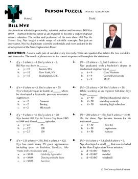 person puzzle inverse variation bill nye worksheet worksheets bill o 39 brien and puzzles. Black Bedroom Furniture Sets. Home Design Ideas
