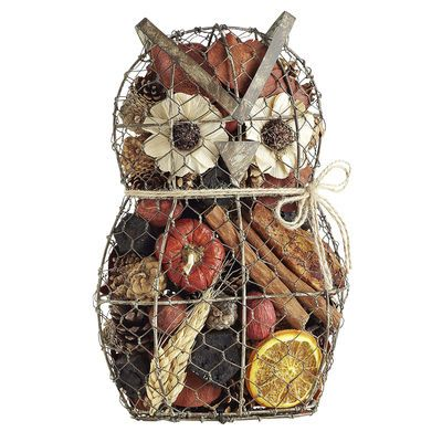 Wire owl filled with Spiced Cake potpourri, new at Pier 1