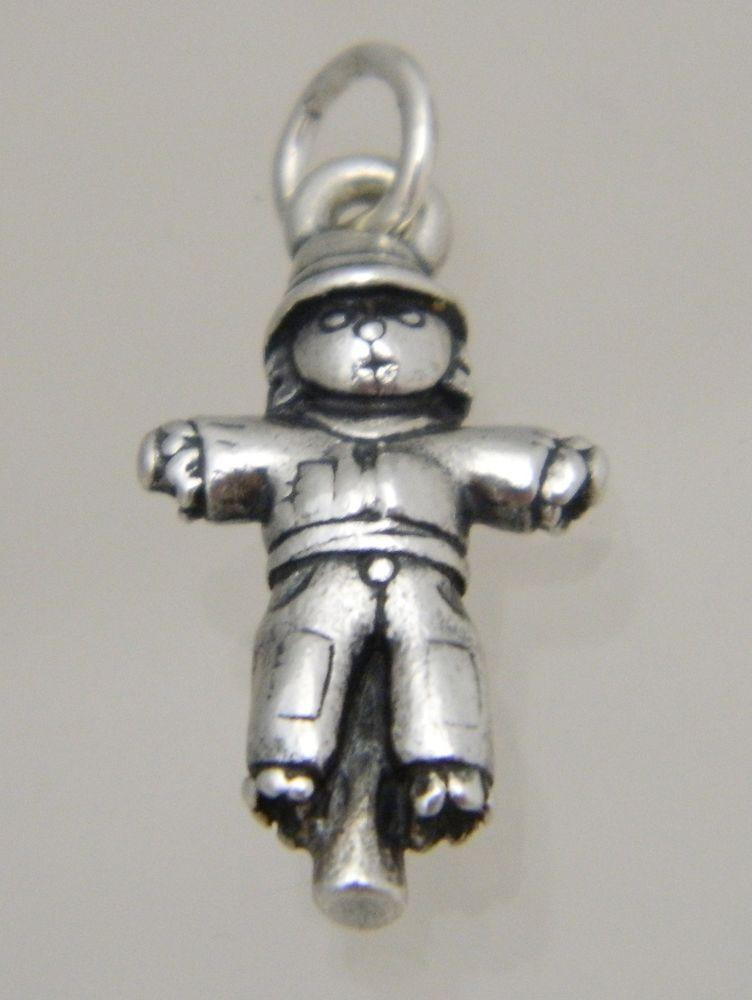 VINTAGE Sterling Silver ENAMEL Charm SCARECROW Wizard of Oz BRACELET Pendant 3D