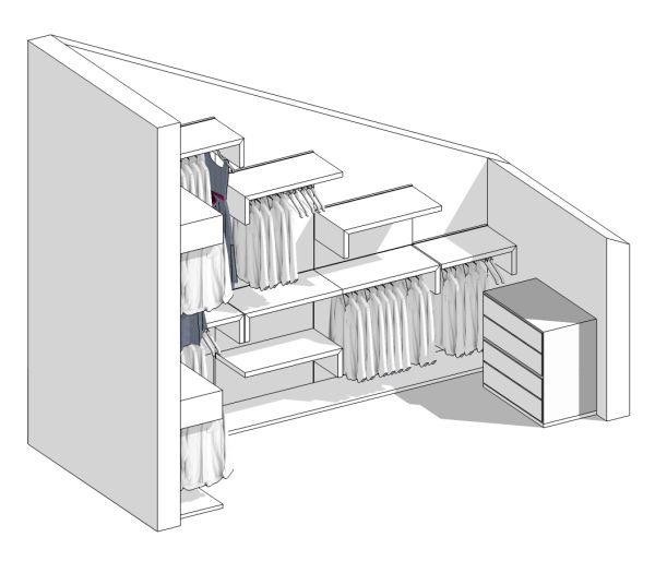 Il progetto di pamela una cabina armadio in mansarda - Cabine armadio progetti ...