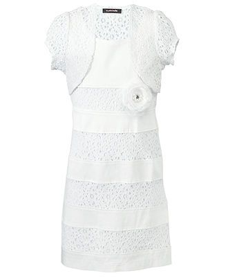 b967a42f389bf Sequin Hearts Girls Dress, Girls Lace Dress with Shrug - Kids Girls ...
