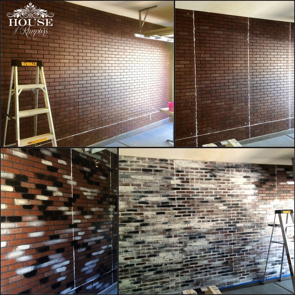 My Work Shop Modern Industrial Garage Faux Brick Panels Brick